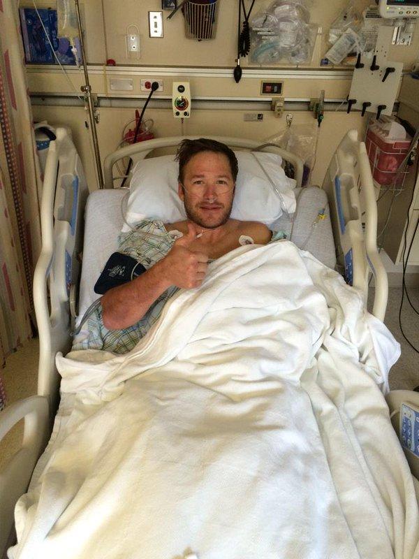 Bode Miller, el pasado febrero tras someterse a una operación del tendo de la corva FOTO: Twitter Bode Miller