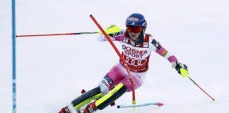 Mikaela Shiffrin impuso su ley en el slalom, prueba en la que no tiene rival FOTO: Twitter