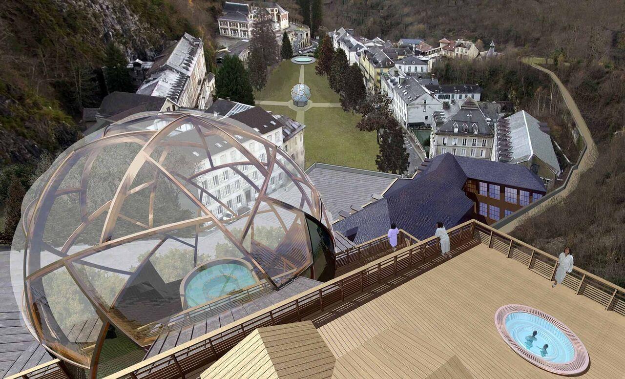 'La Bulle des Eaux-Bonnes' de Gourette fue abierto hace un año tras una profunda remodelación que ha conservado la arquitectura del establecimiento original FOTO: Les Pyrénées