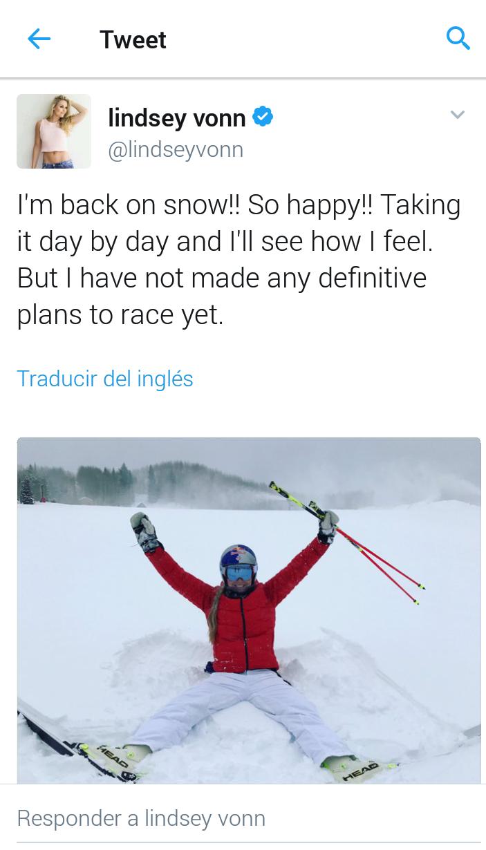 Tweet de Lindsey Vonn en el que no desvela cuándo volverá a competir