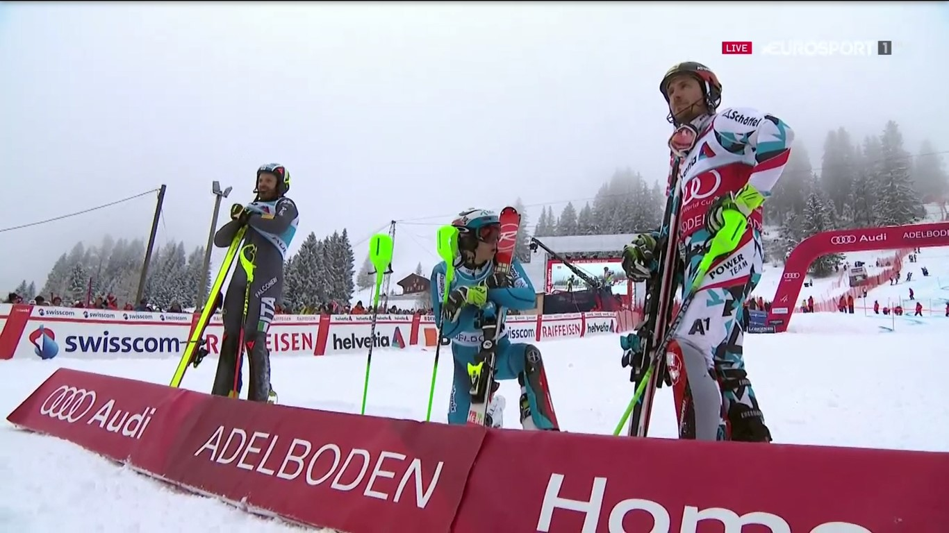 Manfred Moelgg, Henrik Kristoffersen y Marcel Hirscher, el podio del slalom de Adelboden FOTO: Eurosport