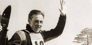 Jean Vuarnet, tras ganar el oro en el descenso de Squaw Valley con unos Rossignol metálicos y adoptando la postura 'huevo'