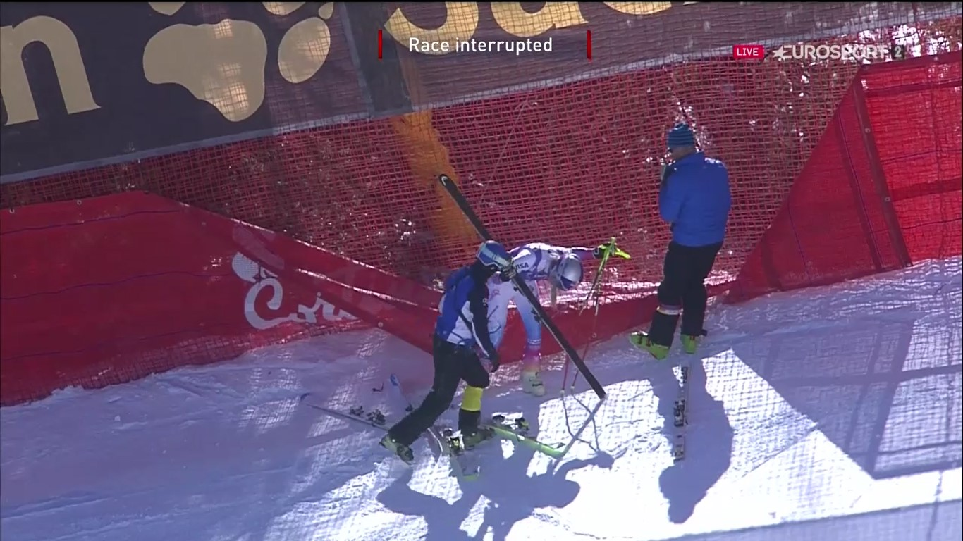 Lindsey Vonn se cayó en el mismo lugar que en el entrenamiento del viernes FOTO: Eurosport