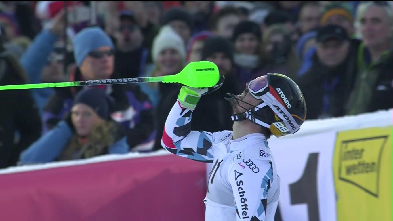 Hirscher no ha reprimido su alegría al cruzar la meta con el mejor tiempo FOTO: Eurosport