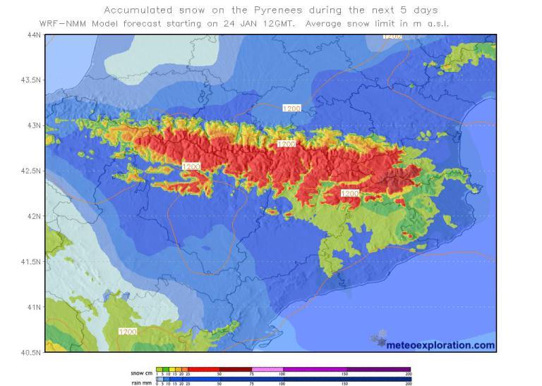 Acumulaciones previstas para los próximos días FOTO; Meteoprineuscatalans.com