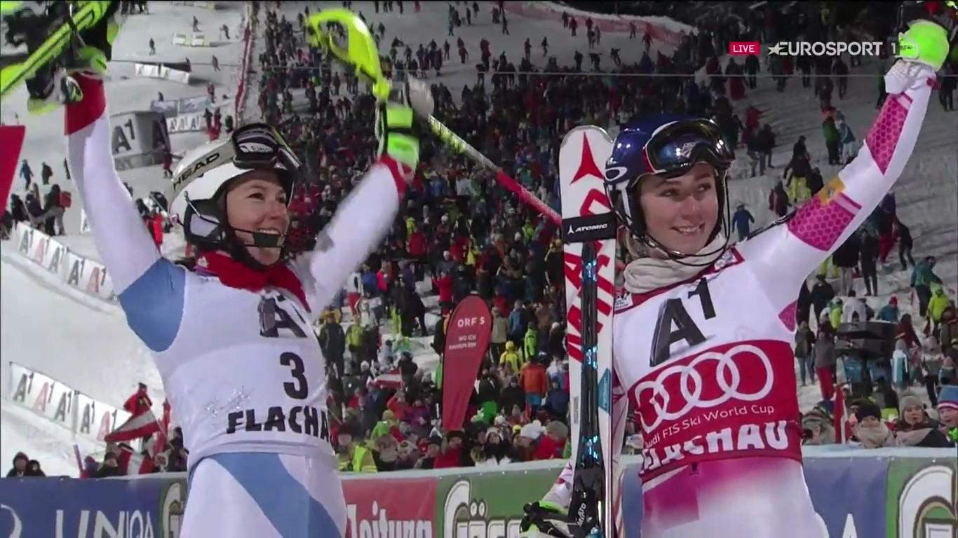 Wendy Holdener y Mikaela Shiffrin han compartido el tercer cajón del podio FOTO: Eurosport