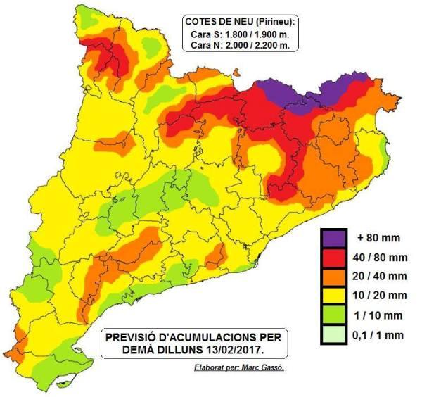Riesgo de precipitaciones en los Pirineos catalanes
