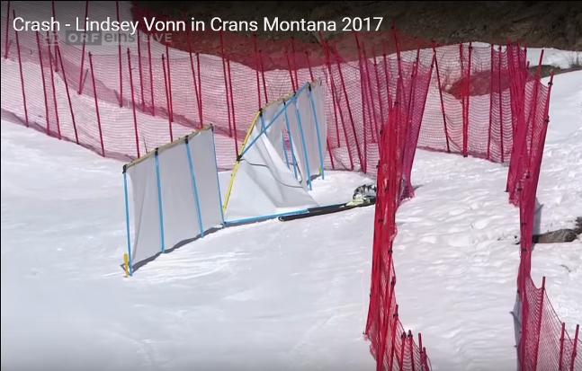 Detalle de la aparatosa caída de Lindsey Vonn en Crans Montana
