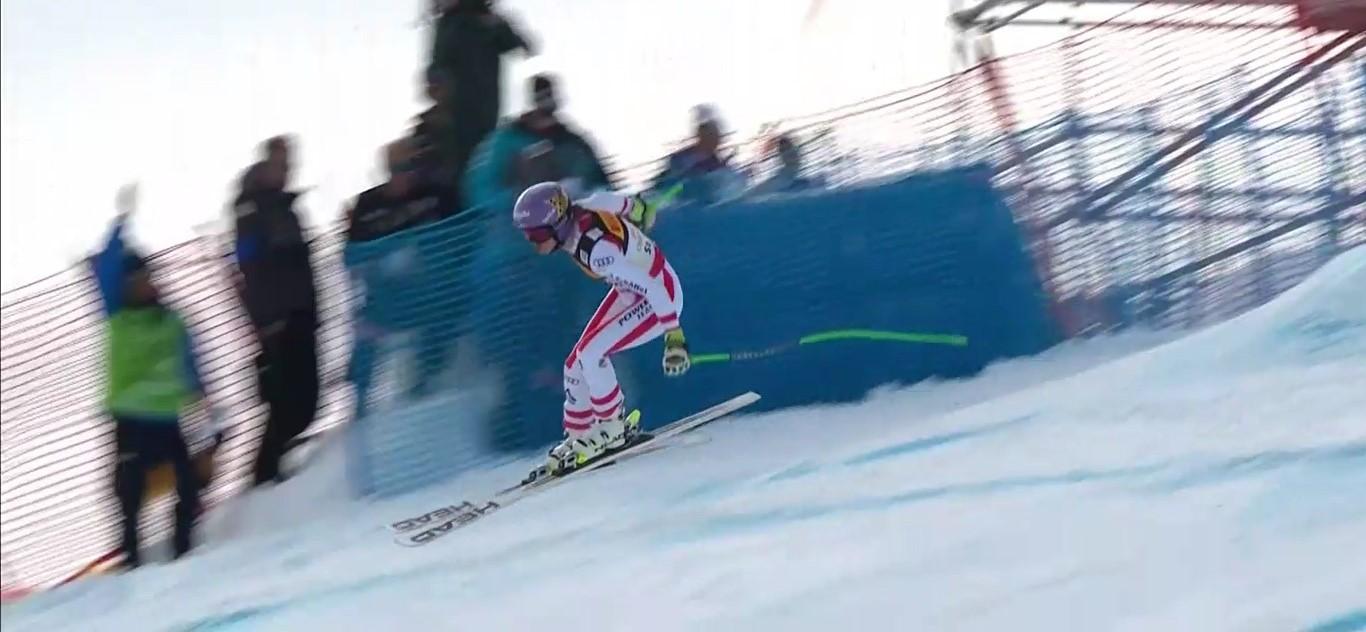 Anna Veith defendía título pero todavía le falta ritmo de competición y acabó saliéndose FOTO: Eurosport
