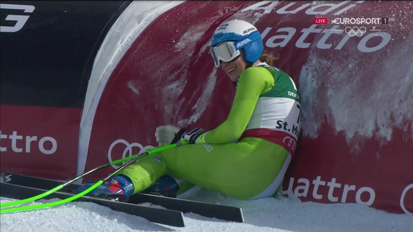 Ilka Stuhec feliz tras cruzar la meta y comprobar que había sido la más rápida FOTO: Eurosport