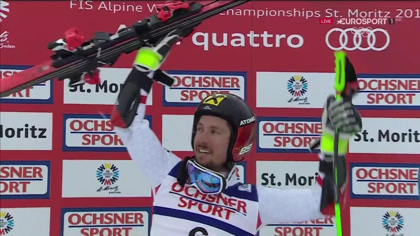 Marcel Hirscher por fin se proclamó campeón del mundo de gigante después de dos platas en los Mundiales de Schladming y Vail FOTO: Eurosport