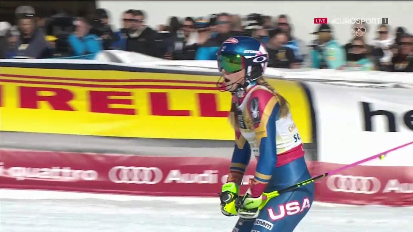 Ni la propia Mikaela Shiffrin se creía el tiempazo que acababa de marcar en la segunda manga FOTO: Eurosport