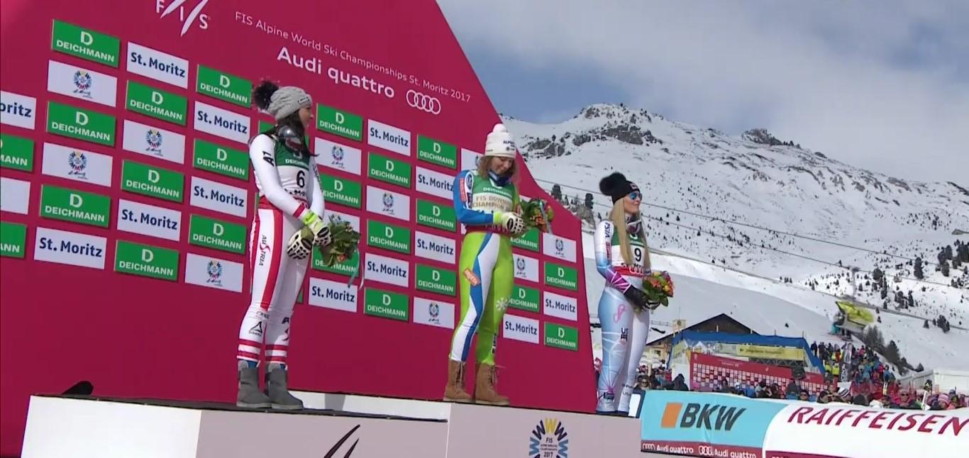 De izqda a dcha Venier, Stuhec y Vonn en el podio del descenso FOTO: Eurosport
