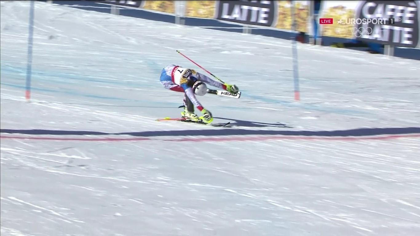 Wendy Holdener entrando en meta en la segunda manga. Se va de St Moritz como campeona del mundo de combinada y subcampeona de slalom FOTO: Eurosport