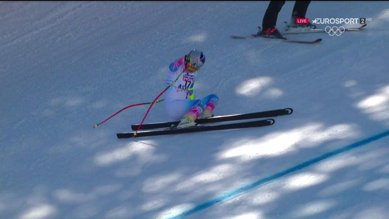 Tras ser segunda ayer en el descenso, Lindsey Vonn ha acabado en el suelo en el super G Foto: Eurosport