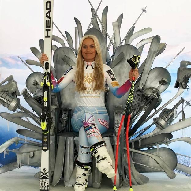 Lindsey a punto con sus esquís