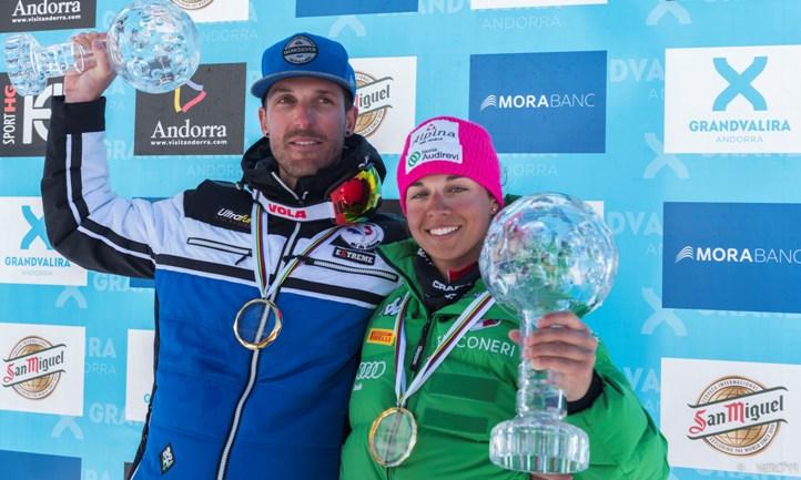 Bastien Montes y Valentina Greggio ganan los Globos de Cristal 2017 de la Copa del Mundo de esquí de velocidad en Grandvalira