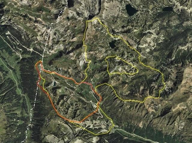 Zona de acción de la ampliación en las pistas del Alt Pirineu