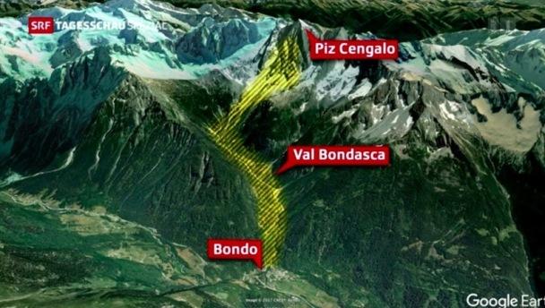 Unod de los mayores desprendimientos que vive el valle del Bondasca