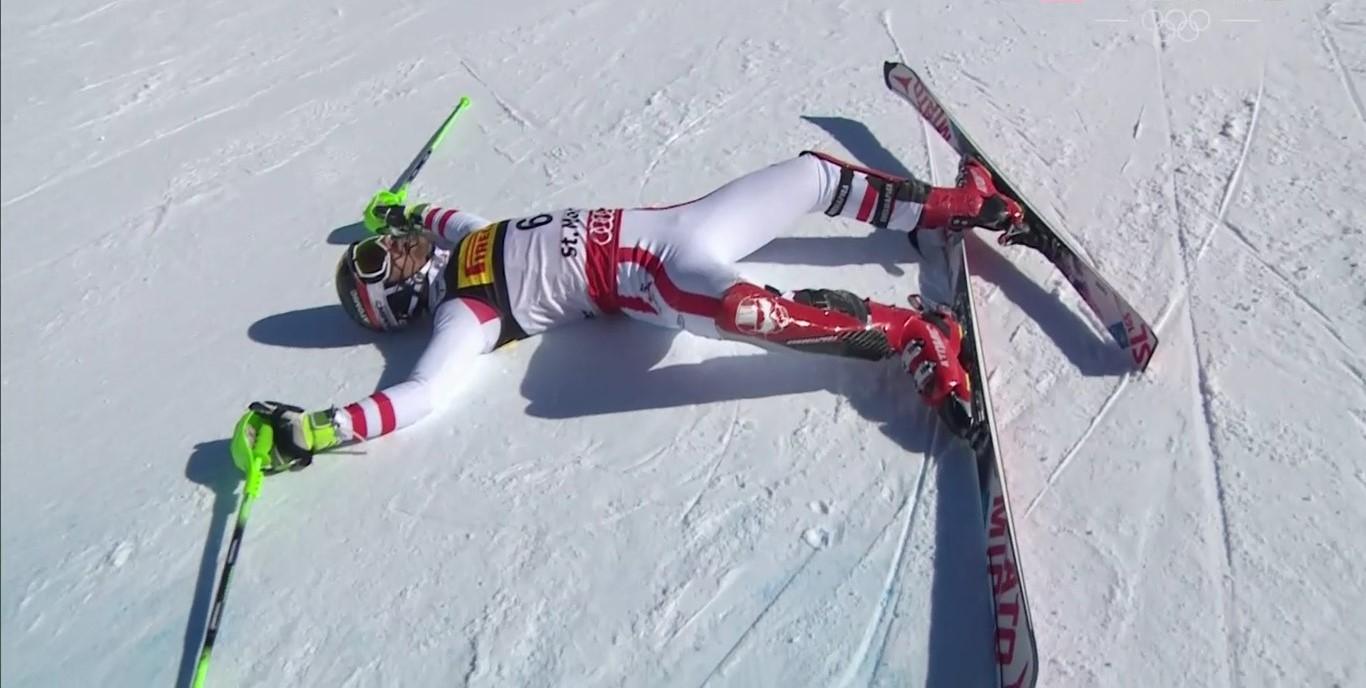 Marcel Hirscher tras acabar la segunda manga del slalom del Mundial de St Moritz en el que ganó el oro
