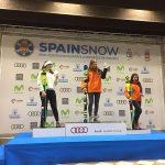 La catalana Arrieta Rodríguez (CEVA) subió a lo más alto del podio acompañada de Jana Suau (CAEI) y de Eugenia Brotons (CEVA) FOTO: RFEDI Spainsnow