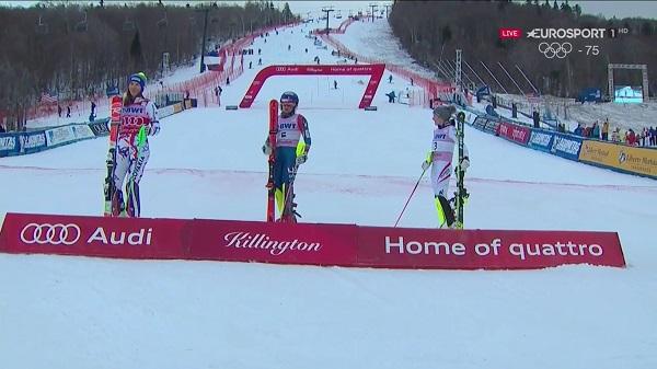 Shiffrin, Vhlova y Schild, en el podio del slalom de Killington