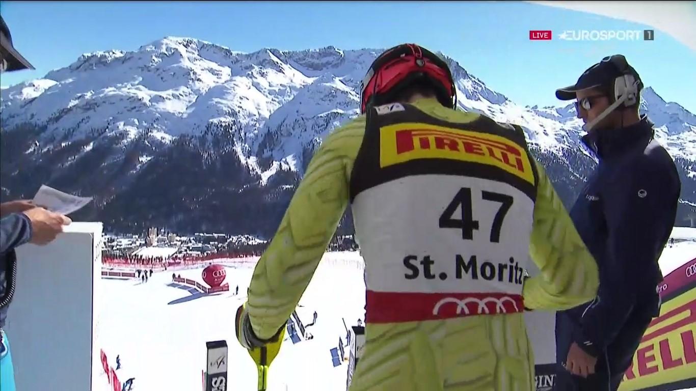 Quim Salarich, en el portillón de salida del slalom del pasado Mundial de St Moritz, donde se metió en la segunda manga para acabar el 25º