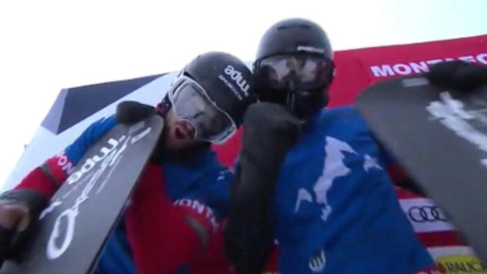 Eguíbar y Hernández celebran el triunfo delante de la afición en Montafón