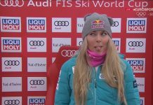 Lindsey Vonn aguarda los tiempos de sus rivales, que no pudieron mejorar el suyo en el primer super G de Val d'Isère