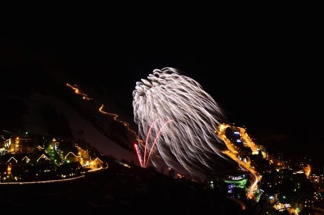 Castillo de fuegos artificiales en Baqueira