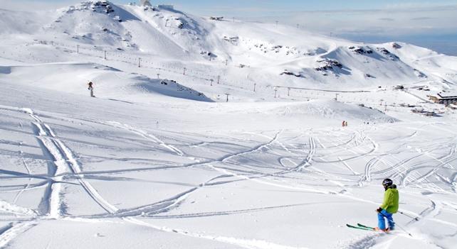 Aspecto de la estación después de la nevada del fin de semana