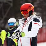 Mikaela Shiffrin en un entrenamiento del slalom donde defendía el título olímpico y donde acabó fuera del podio