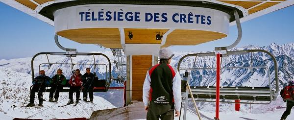 El telesilla que lleva a la pista Crêtes, que rodea por entero la estación de Cauterets-Cirque du Lys