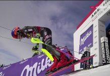 Mikaela Shiffrin saliendo a por todas en la segunda manga del slalom de Are que ha supuesto su duodécima victoria de la temporada