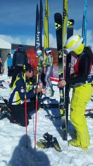 Núria Pau, antes de tomar la salida en el slalom de Soldeu donde ha conseguido su mejor resultado en la Copa de Europa FOTO: RFEDI