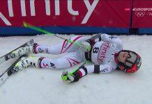 Stephanie Brunner, exhausta tras finalizar cuarta en el gigante de Killington
