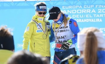 Kristine Gjelsten Haugen, ganadora del gigante, y su compatriota Thea Louise Stjernesund que se ha llevado el Globo de la disciplina gracias a tener una victoria más FOTO: Gustavo Subilibia