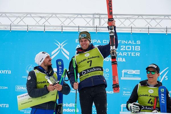 El suizo Stefan Rogentin, vencedor del super G en la pista Àliga FOTO: Óscar Rius