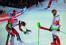 Kristoffersen hace una reverencia a Hirscher tras ser derrotado en el slalom de Schladming