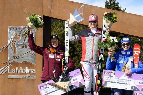Nina Ortlieb en lo más alto del podio del segundo gigante de La Molina, penúltimo de la temporada de la Copa de Europa FOTO: @oriolmolas