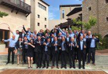 Los miembros de la candidatura celebran la designación de Courchevel Méribel como sede del Mundial de alpino de 2023