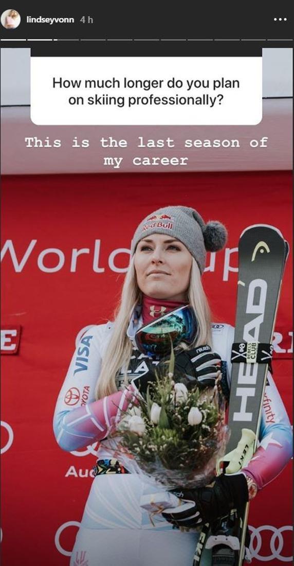 Vonn asegura en su cuenta de Instagram que la de 2018-19 será su última temporada en activo