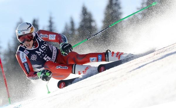 Henrik Kristoffersen en el gigante de Adelboden del pasado enero, donde acabó tercero. FOTO: Redbullcontentpool.com_.jpg