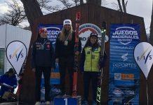 Núria Pau, en el podio de Cerro Castor FOTO: RFEDI Spainsnow
