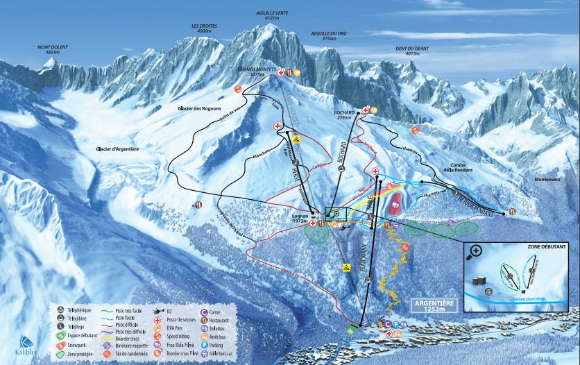 Planigrafía de las pistas de los Alpes franceses
