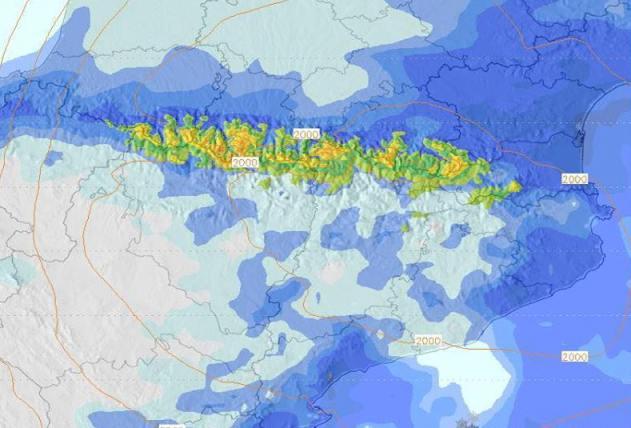 La cara norte de los Pirineos podría llegar incluso a los 20 cm de nieve