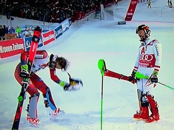 Kristoffersen se inclina ante Hirscher tras ser batido en el slalom de Schladming el pasado enero