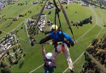Pese al percance, el turista colgó en las redes sociales aparatoso vuelo en ala delta