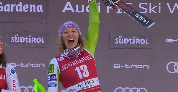Al cabo de un año y medio, Ilka Stuhec ha vuelto a subir a lo más alto de un podio de la Copa del Mundo.