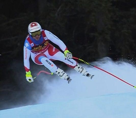 Marc Gisin, en la Saslong de Val Gardena instantes antes de sufrir la caída.